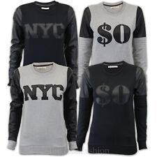 Señoras Sudadera Brave Soul Mujeres Pu PVC Jersey Top Suéter NYC dólar Nuevo