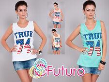 Ladies Vest Top TRUE 74 Print Sleeveless Casual Cotton T-Shirt Sizes 8-14 FB28