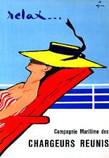 Affiche compagnie maritime des Chargeurs Réunis - Relax