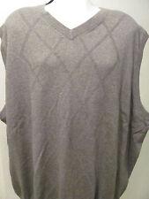 NEW XLT XT XL TALL V-Neck Sweater Vest SOLID GRAY GREY w Diamond Pattern $60