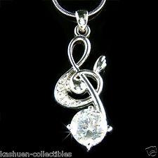 BIG Cubic Zirconia w Swarovski Crystal TREBLE g CLEF MUSIC NOTE Pendant Necklace