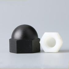 NYLON HEXAGON DOME NUTS ACORN CAP FOR METRIC BOLTS SCREWS BLACK/WHITE M3-M12