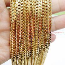 "Wholesale 16""-40"" 5pcs/10pcs 4mm Gold Cuban Stainless Steel Link Chain Necklace"