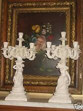 Antique Porcelain Pair Candelabras Art Nouveau Great !