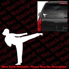 KARATE GIRL Vinyl Sticker Car Window Decal Fight Woman Kick Black Belt SP017