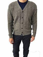 GRP hombre cardigan gris 50% alpaca extrafina 50% lana merinos MADE IN ITALY