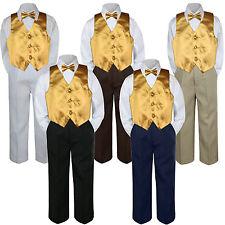 4pc Boys Suit Set Gold Yellow Vest Bow Tie Baby Toddler Kids Formal Pants sz S-7