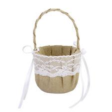 Chic Rustic Burlap Flower Heart Lace Flower Girl Basket Wedding Party Supplier