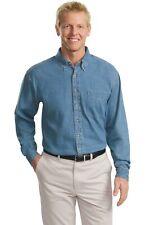 Port Authority TLS600 Mens Tall Long Sleeve Denim Shirt Button Up Shirt NEW