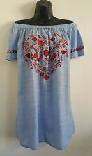 NEW Ex Evans PlusSize Blue Cotton Heart Floral Embroidered Bardot Blouse 14-30