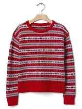 Gap Kids Girls Sweater 6 7 8 Red Fair Isle Long Sleeve Crew Neck Rib Trim New