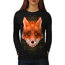 Poligonal fuego Fox para mujeres de manga larga T-shirt new   wellcoda