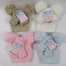 Bébé Bébés Garçons Filles En Tricot Torsadé Tricot Pompon Gants Bobble Bonnet Moufles Set