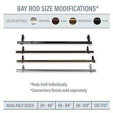 Bay Window / Corner Window Single Curtain Rod, choose from 4 sizes & 4 colors