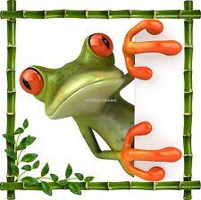 Sticker mural trompe l'oeil déco bambou Grenouille réf 911