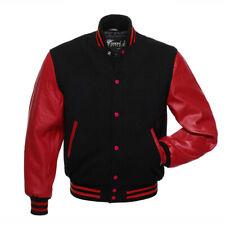 Varsity Jacket Lettermen Basebal (Black/Red) Wool & Leather Arms Quilted