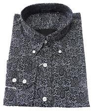 Relco NOIR CACHEMIRE MANCHES LONGUES COTON MODE RÉTRO boutonné T-shirt du S au