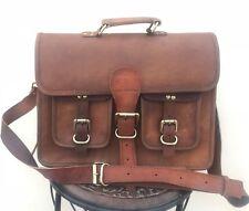 Men's Brown Vintage Leather Bag Messenger Shoulder Laptop Computer Briefcase