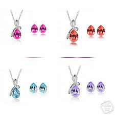 NEW silver wedding bridal gift jewellery drop dangle earring necklace set JJ24