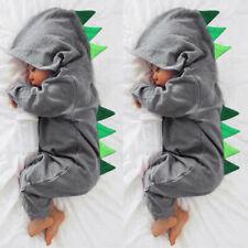 ca7af7ed5 Cute Newborn Baby Boy Cartoon Dinosaur Hooded Romper Jumpsuit Outfit Kid  Clothes