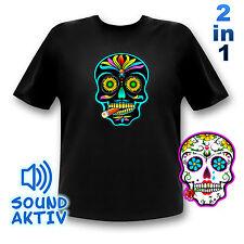 Leuchtendes Totenkopf T-Shirt / Mexikanischer Totenkopf / LED Shirt Sugar Skull