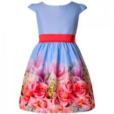 Mädchen Kleid Festlich Einschulung Hochzeit Blumenmädchen Sommerkleid Party Blau