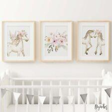 Baby, Girl Nursery Bedroom Wall Art decor Set of three Boho Ponies Floral Prints
