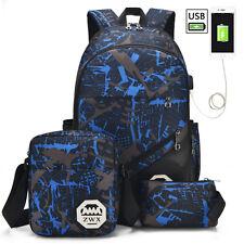 Waterproof Nylon Backpack Men Women's USB Charging Laptop Bag School Backpacks
