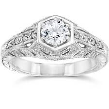 Emery .70Ct Vintage Diamond Genuine Engagement 14K White Gold