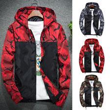 Mens Casual Camouflage Print Hoodie Winter Jacket Coat with Hooded Windbreaker