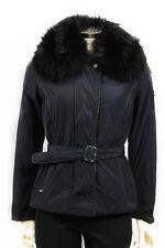 Cappotto da donna blu Chateau giubbetto con pelliccia e cintura casual moda