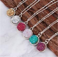 Druzy Crystal Pendant Necklace Reiki Healing Chakra Stone Spiritual