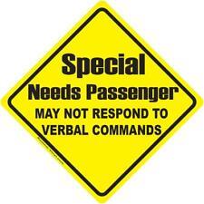 Special Needs Passenger Warning Vinyl Decal May Not Respond Car window awareness