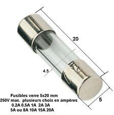 fusible verre rapide universelle cylindrique 5x20 mm 250V Max. 0.2A à 20A   .D6