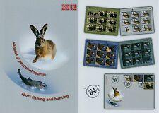 Rumänien 2013 Jagd und Fischerei Mi.6726-29,Zf.,KB-Satz,FDC,fishing and hunting