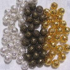 50 perles filigranes 8mm AU CHOIX métal argenté doré bronze perforation 0,8mm