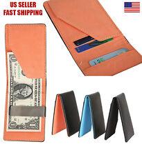 Mens Leather Bifold Wallet ID Credit Card Holder Silver Money Clip Slim design