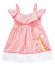 NWT Nannette Girls Giraffe Coral Pink Gingham Seersucker Dress 12 18 24 2T 3T 4T