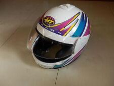 MT Motorradhelm Integral Helm weiß Dekor lila pink gelb türkis S M L helmet H5
