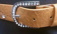 "Women Beige Faux Leather Belt Rhinestone & Holes With Round Buckle 31""-38"""