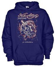 Felpa con cappuccio Vintage hoodie KSC20 Ink Alley tattoo Amore lama e rosa
