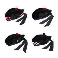 Tartanista Scottish Diced & Plain 100% Wool Piper Glengarry Kilt Hats - 52 - 62