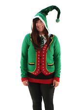 Ugly Christmas Sweater Plus Size Women's Head Elf Boss Suit Hooded Sweatshirt