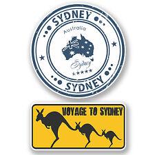 2 x Sydney Australia Vinyl Stickers iPad Laptop Suitcase Travel Labels Fun #4804