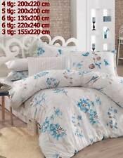 Bettwäsche Bettgarnitur Bettbezug 100% Baumwolle Kissen Decke YAREN BLAU