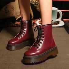 Platform Shoes Ankle Boots Combat Riding Punk Retro Womens Lace Up Creeper 8