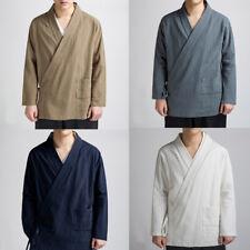 Mens Chinese Vintage Tang Suit Jacket Martial Art Kung Fu Coat Tai Chi Top Linen