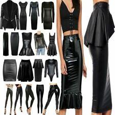 Ladies Mini Skirt Tunic Top Bodycon Dress Womens Wet Look Leather Leggings Lot