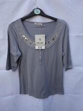 (0025) Women's Grey Sequin Top Size 6 8 12 14