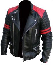 Men's BRANDO Classic BIKER rosso e nero moto vintage REAL LEATHER JACKET